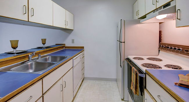 A galley-style kitchen with Overhead lighting and a double sink