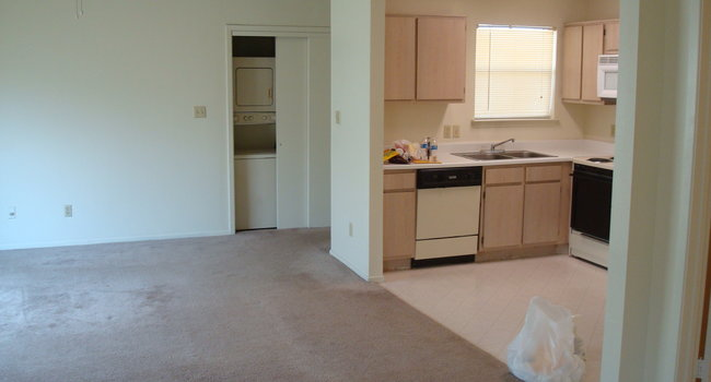 facing the living room, laundry unit, and kitchen (please excuse my trash :P)